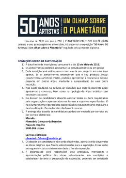 do regulamento - Planetário Calouste Gulbenkian