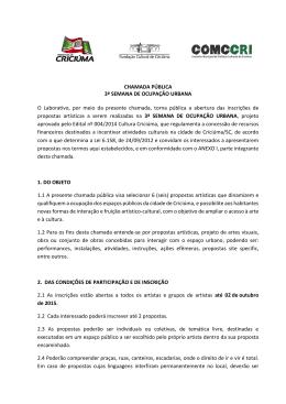 CHAMADA PÚBLICA 3ª SEMANA DE OCUPAÇÃO URBANA O
