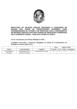 Curso: Licenciatura em Ciências Biológicas UFRJ