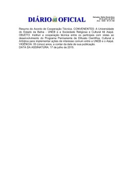 Resumo do Acordo de Cooperação Técnica
