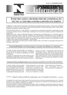 INMETRO ASSINA MEMORANDO DE COOPERAÇÃO TÉCNICA