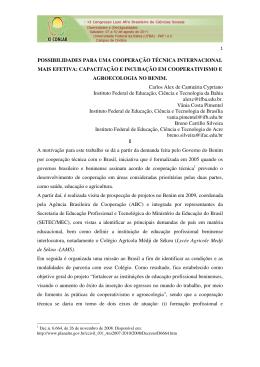 POSSIBILIDADES PARA UMA COOPERAÇÃO TÉCNICA