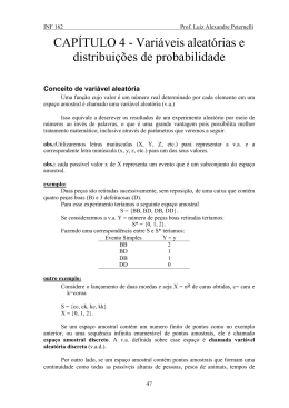 CAPÍTULO 4 - Variáveis aleatórias e distribuições de probabilidade