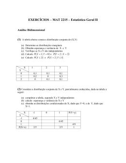 EXERCÍCIOS – MAT 2215 – Estatística Geral II