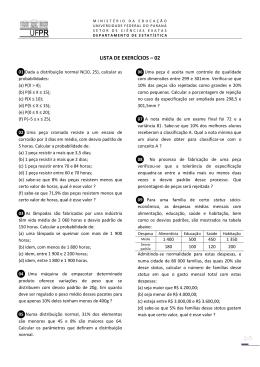 LISTA DE EXERCÍCIOS – 02 - Universidade Federal do Paraná