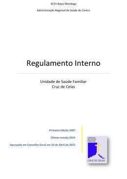 Regulamento Interno - Administração Regional de Saúde do Centro