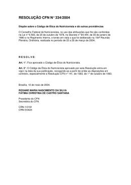 RESOLUÇÃO CFN N° 334/2004 - Conselho Federal de Nutricionistas