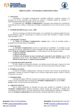 Assessora: Maria Cristina Barbosa E-mail: cristina.barbosa