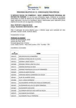 PROCESSO SELETIVO 041/13 - CONVOCAÇÃO
