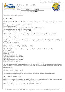 1- Considere a reação em fase gasosa: N2 + 3H2 →2NH3 Fazendo