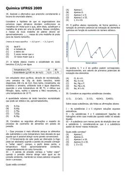 Química UFRGS 2009 - Certo Vestibulares