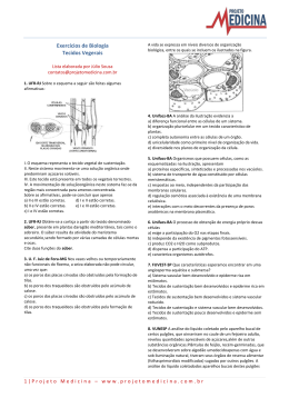 Tecidos Vegetais - Exercícios