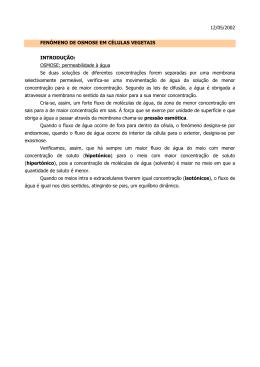 12/05/2002 FENÓMENO DE OSMOSE EM CÉLULAS VEGETAIS
