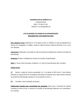ATA DE REUNIÃO DO CONSELHO DE ADMINISTRAÇÃO