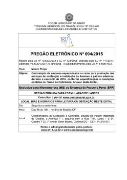 PREGÃO ELETRÔNICO Nº 094/2015