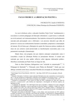 PAULO FREIRE E A LIBERTAÇÃO POLÍTICA
