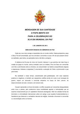 mensagem de sua santidade o papa bento xvi para a celebração do