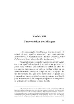 Cap. XIII - CaracterÍsticas dos Milagres