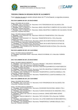 Processos retirados de pauta em janeiro de 2015 da 3ª Turma