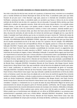 ATA DA REUNIÃO ORDINÁRIA DA CÂMARA MUNICIPAL DE