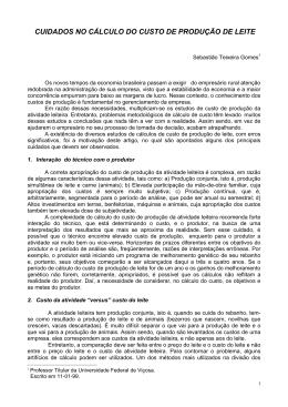 CUIDADOS NO CÁLCULO DO CUSTO DE PRODUÇÃO DE LEITE