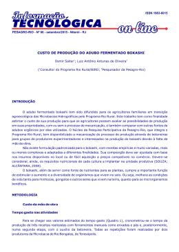 IT On line 66 Custo de produção do adubo - Pesagro-Rio