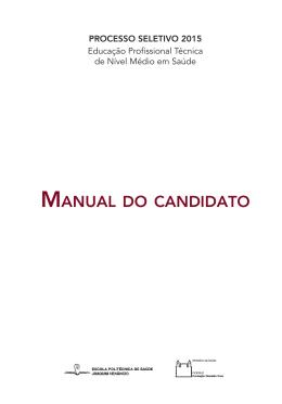 MANUAL DO CANDIDATO - Processo Seletivo Ensino Médio EPSJV