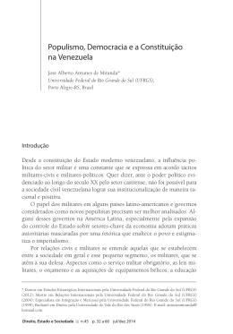 Populismo, democracia e a Constituição na Venezuela