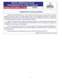 COMENTÁRIO DA PROVA DE QUÍMICA 1 QUÍMICA