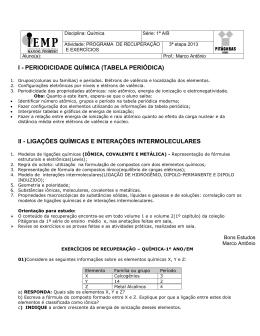 I - PERIODICIDADE QUÍMICA (TABELA PERIÓDICA) II