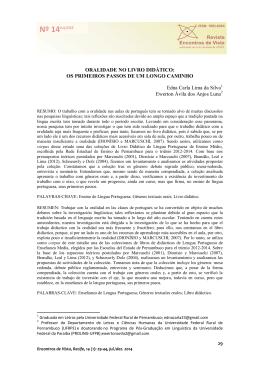 ORALIDADE NO LIVRO DIDÁTICO - Revista Encontros de Vista