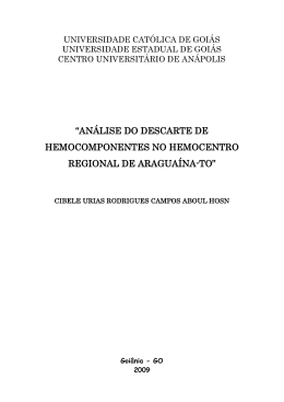 análise do descarte de hemocomponentes no hemocentro regional