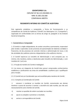 Regimento Interno do Comitê de Auditoria