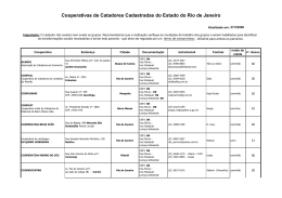 Cooperativas de Catadores Cadastradas do Estado