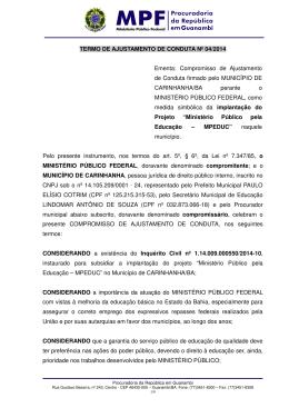 TAC Escolas - MPF-BA - Ministério Público Federal