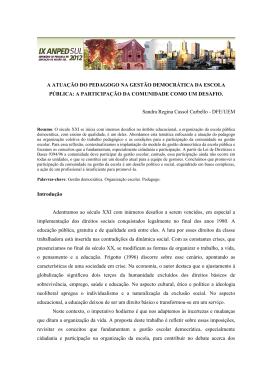 a atuação do pedagogo na gestão democrática da escola pública