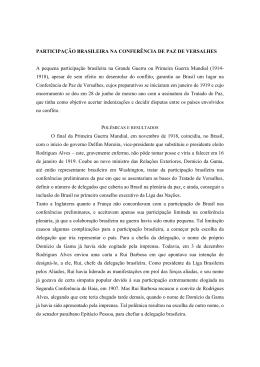 participação brasileira na conferência da paz de versalhes