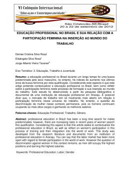 educação profissional no brasil e sua relação com a participação