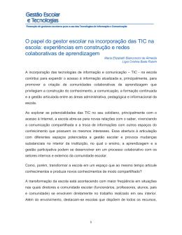 O papel do gestor escolar na incorporação das TIC na escola