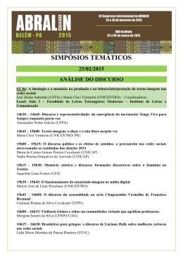 SIMPÓSIOS TEMÁTICOS - IX Congresso Internacional da ABRALIN