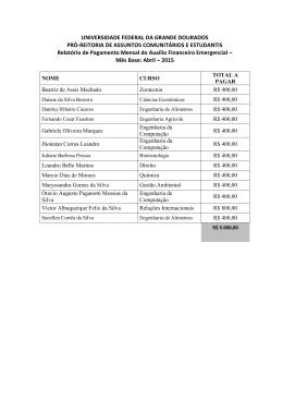 Relatório de Pagamento Mensal Auxílio Financeiro Emergencial