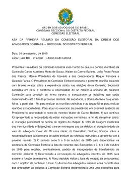 ATA DA PRIMEIRA REUNIÃO DA COMISSÃO ELEITORAL DA