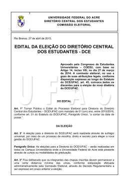 edital da eleição do diretório central dos estudantes