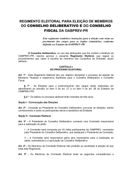 REGIMENTO ELEITORAL PARA ELEIÇÃO DE - OABPrev-PR