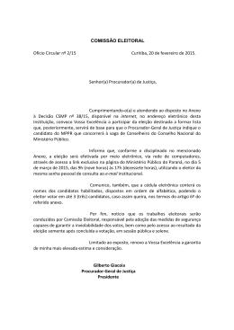 COMISSÃO ELEITORAL Ofício Circular nº 2/15 Curitiba, 20 de