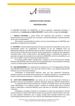 COMISSÃO ELEITORAL NACIONAL INSTRUÇÕES GERAIS A