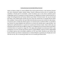 Esclarecimento da Comissão Eleitoral Central