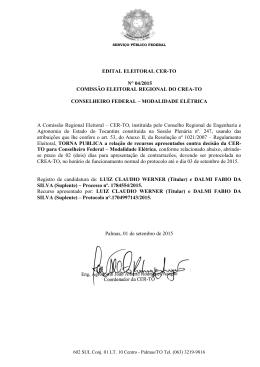 EDITAL ELEITORAL CER-TO N° 04/2015 COMISSÃO ELEITORAL