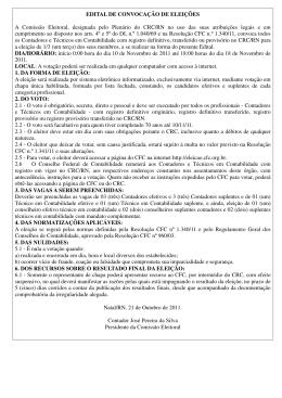 EDITAL DE CONVOCAÇÃO DE ELEIÇÕES A Comissão Eleitoral