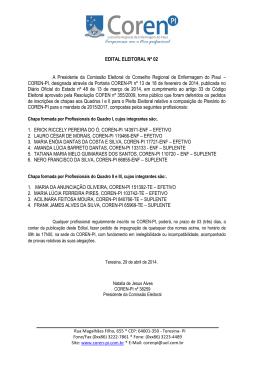 EDITAL ELEITORAL Nº 02 A Presidente da Comissão Eleitoral do